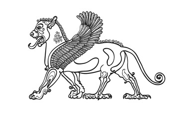 Coloring book, stylized drawing of the Gryphon