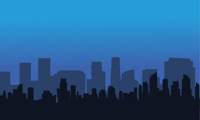 Silhouette of big city at night