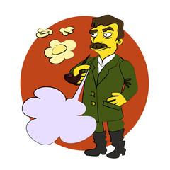 The character of Stalin Smoking a pipe, blowing smoke rings, he glares, with a blank bubble for your text. Comic cartoon vector illustration.