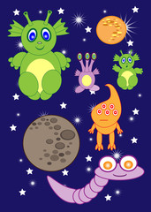 Cartoon cute monsters space of astronauts. aliens. rocket. planets. comets. Vector
