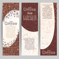banners with coffee drawn elements