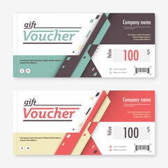 Gift voucher template. promotion card, Coupon design. vector sto
