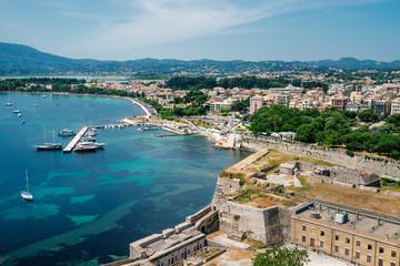 Beautiful view of marina in Corfu Island, Greece