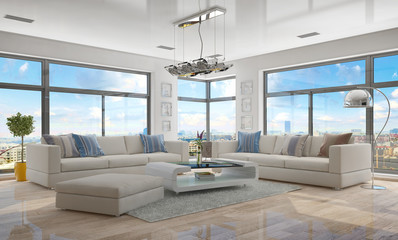 Fototapeta Moderne, luxuriöse Penthouse Wohnung mit einem Wohnzimmer. obraz