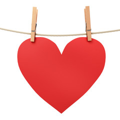 paper heart attached to a rope clothespin