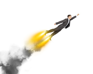 Flying businessman with fire