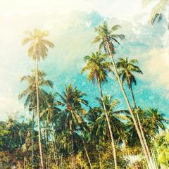 Palm Trees Jungle Sky Toned Vintage Shabby Effect