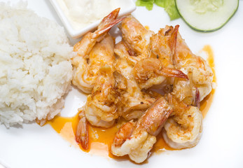 prawns grilled with rice