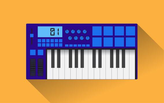 Midi master keyboard in flat design, vector