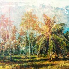Tropical Jungle Palm Trees Toned Shabby Effect
