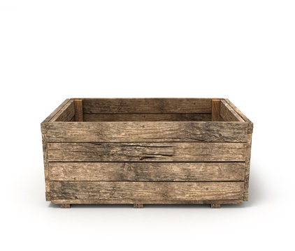 open old wooden box isolated on white background