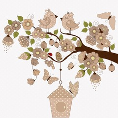 Floral branch with cute birds and butterflies