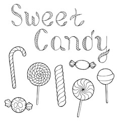 Candy graphic art black white isolated set illustration vector