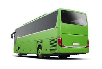 Green bus side view isolated on white