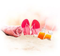 Beach Sand Pink Flip Flops Towel Orange Juice