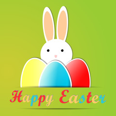 Green background, Happy Easter card with cute rabbit, text and Easter eggs, holidays cartoon design, Vector