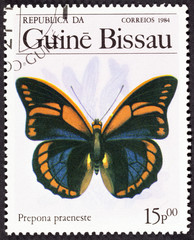 GROOTEBROEK ,THE NETHERLANDS - MARCH 8,2016 : A Stamp printed in GUINEA-BISSAU shows image of a butterfly prepona praeneste, circa 1984