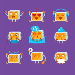 Small Robot Emoji Set