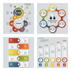 Collection of 4 design colorful presentation template. Vector Background. For your idea and presentation.