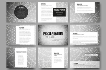 Set of 9 vector templates for presentation slides. Sacred geometry, triangle design gray background.