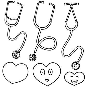 vector set of stethoscope