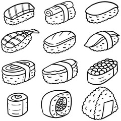 vector set of sushi