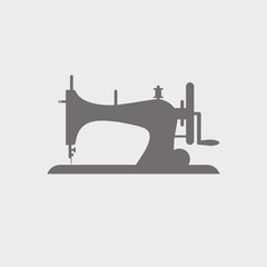 Sewing machine icon vector. Silhouette on white background