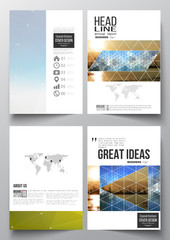 Set of business templates for brochure, magazine, flyer, booklet or annual report. Abstract colorful polygonal background with blurred image on it, modern stylish triangular and hexagonal vector