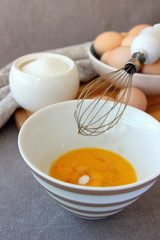Preparation of a cooking recipe of eggs..