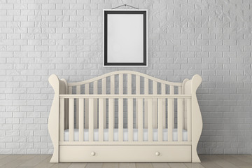 Baby Bed with Blank Photo Frame. 3d rendering