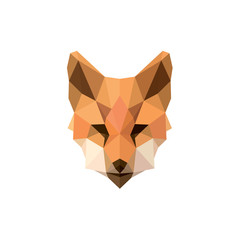 Fox polygon illustrations modern logos design animal sign brand top quality style