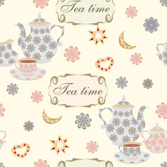 Vector repeating pattern with teapots, cups, flowers and biscuits.