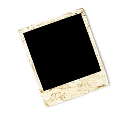 grungy photo frame, isolated on white background