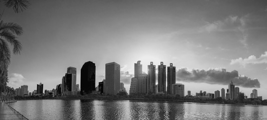 Panorama view of Bangkok cityscape downtown at sunrise in mornin