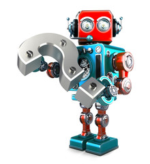 Retro robot with question mark. Isolated. Contains clipping path