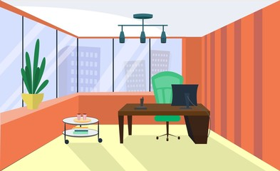 Office interior. Office room, boardroom. Vector office interior in flat style. Armchair and table, computer and coffee table, view from the window on megapolis, skyscrapers. Business concept