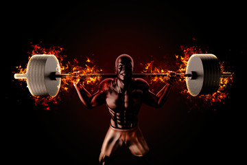 Bodybuilder raises flaming barbell. 3d Illustration