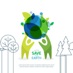 People holding green earth. Abstract background for save earth day. Environmental, ecology, nature protection concept. Banner, poster, flyer design template.