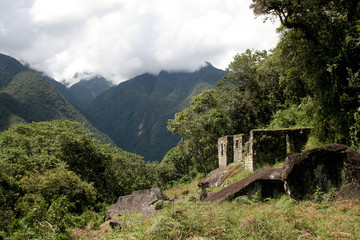 Ruins of Ancient Incan city of Machu Picchu, Peru