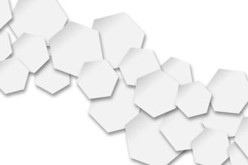 white hexagons background.