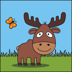 Funny moose. Vector illustration - cartoon moose on green grass. Icon moose.
