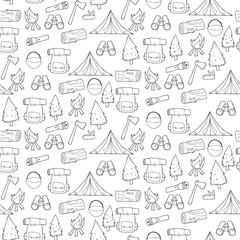 Seamless pattern with camping and hiking elements