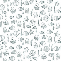 Seamless pattern with underwater life
