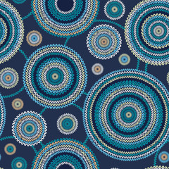 Seamless Ethnic Geometric Knitted Pattern. Style Circle Backgrou