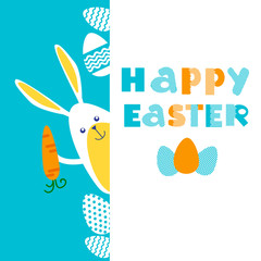 Rabbit Bunny Painted Eggs Easter Holiday Banner Copy Space