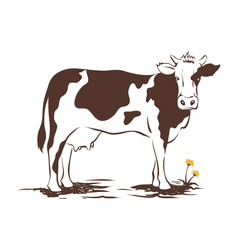 Vector illustrations -- cow with dandelion