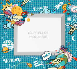 Vector template photo frame or card for your picture. Insert your picture or text. Scrapbook concept. Design photo frame. Decorative template for baby, family or memories. Vector illustration.