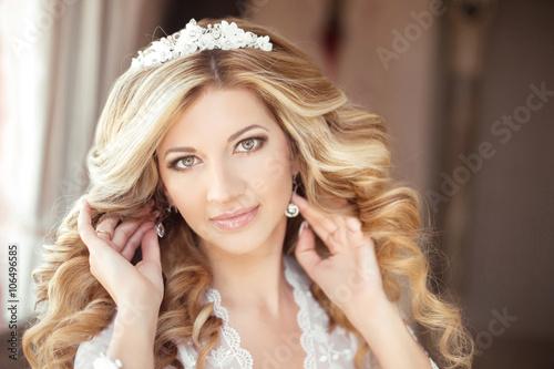 Makeup Beautiful Bride Wedding Portrait With Wedding Hairstyle
