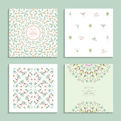 Patterns with floral elements. Set of four cards. Vector