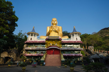 Golden Temple of Dambulla in Dambulla, Central Province, Sri Lanka, Asia.